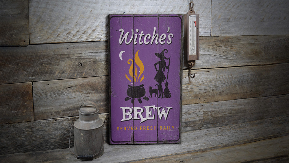 WItchs Brew Rustic Wood Sign