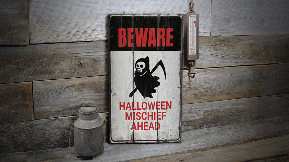 Beware Grim Reaper Rustic Wood Sign