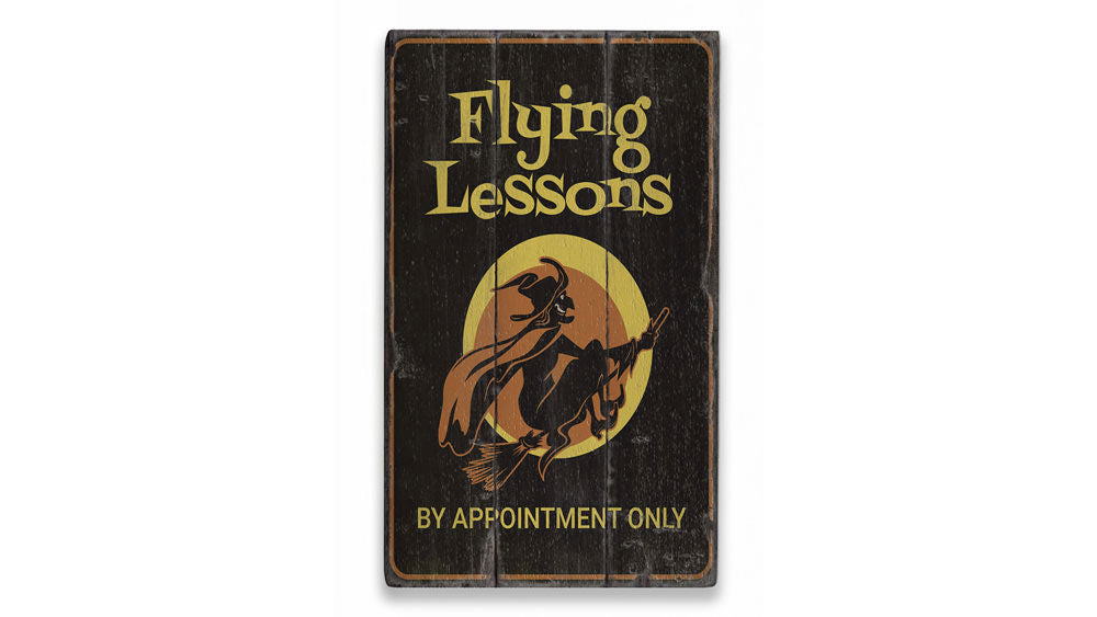 Flying Lessons Witch Rustic Wood Sign