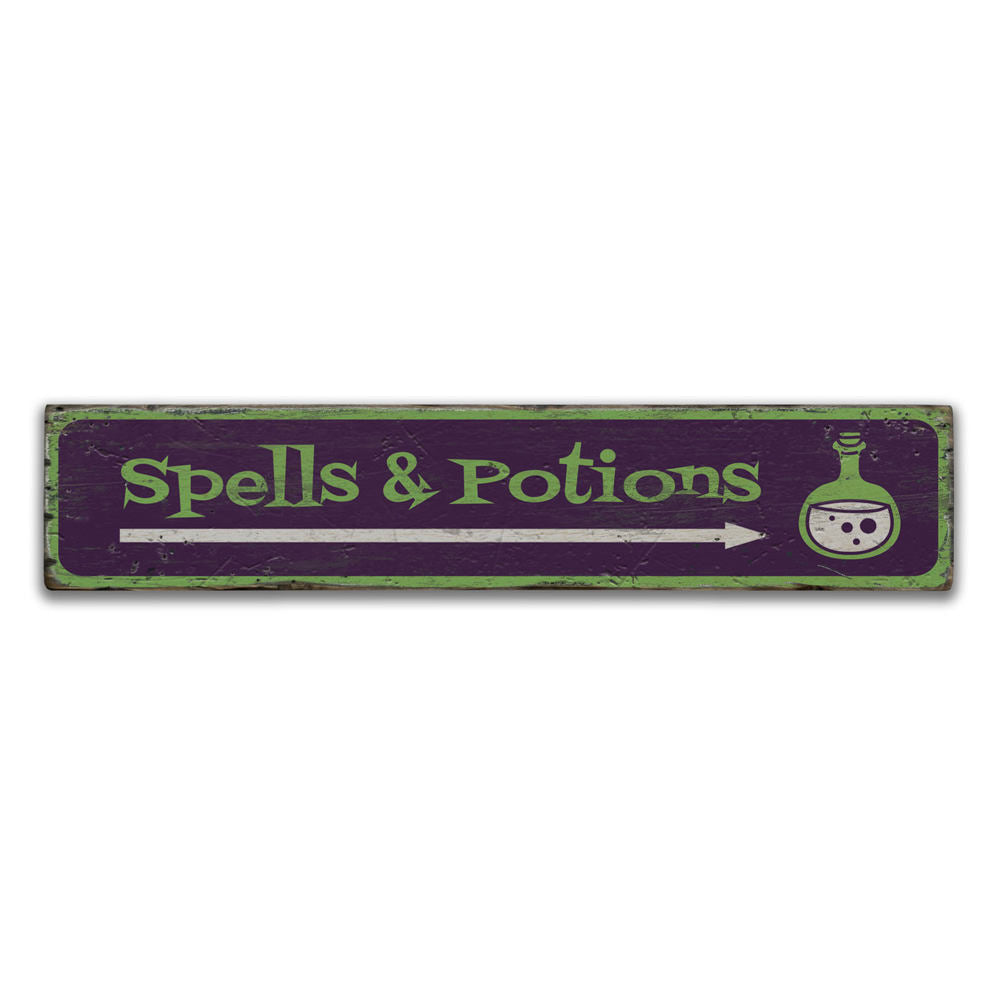 Spells and Potions Arrow Vintage Wood Sign