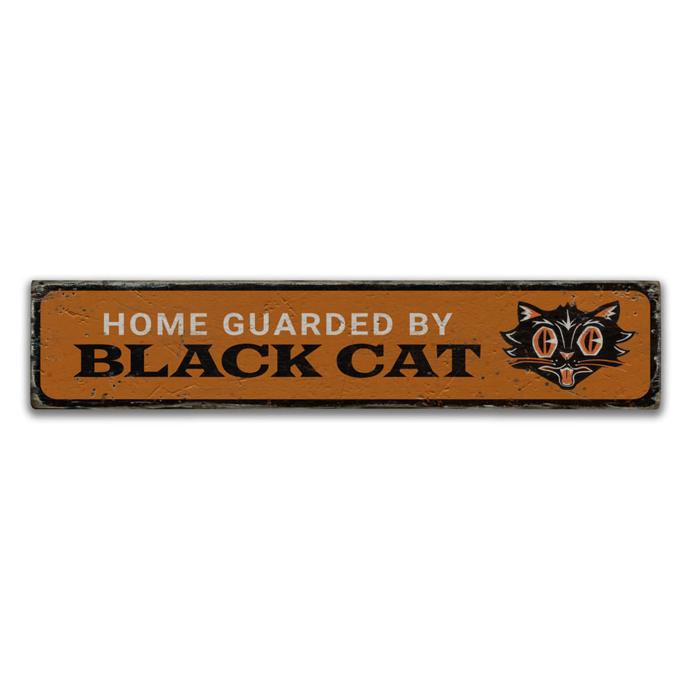 Home Black Cat Vintage Wood Sign