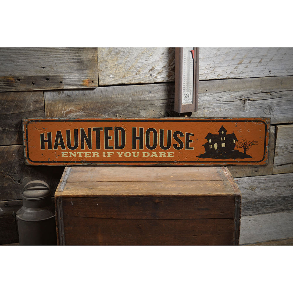 Haunted House Entrance Vintage Wood Sign