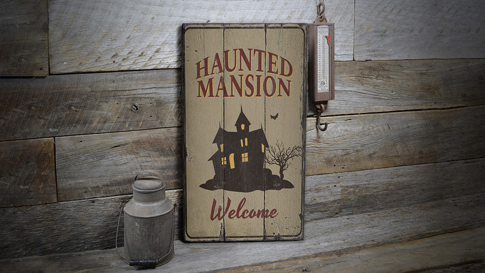 Haunted Mansion Welcome Rustic Wood Sign