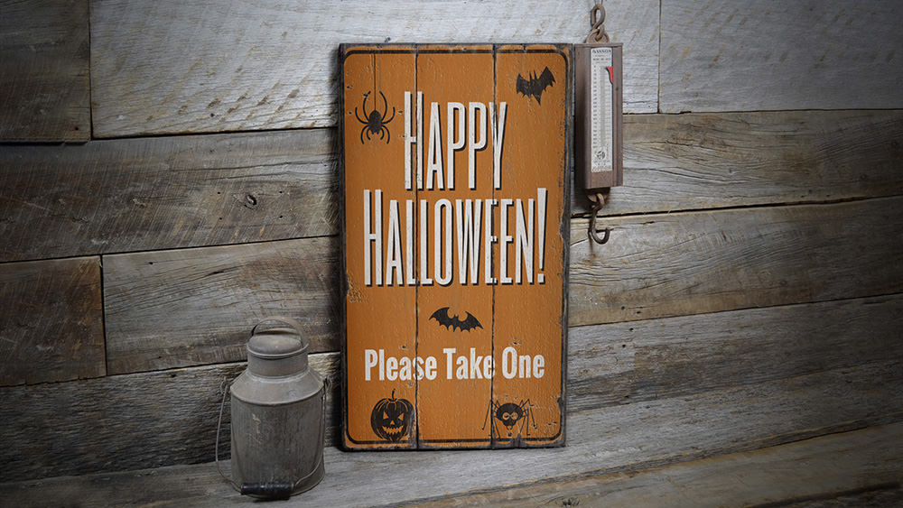 Trick or Treat Black Cat Rustic Wood Sign