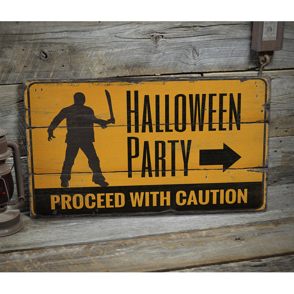 Halloween Party Caution Rustic Wood Sign