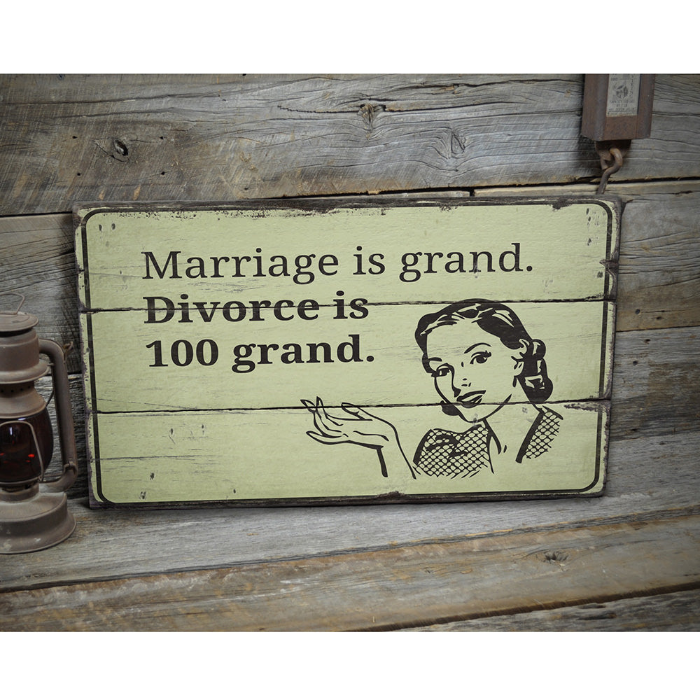 Funny Marriage Rustic Wood Sign