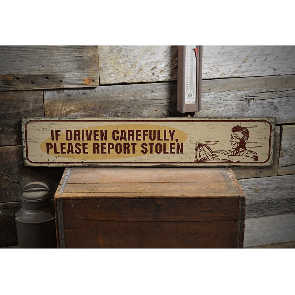 Funny Car Vintage Wood Sign