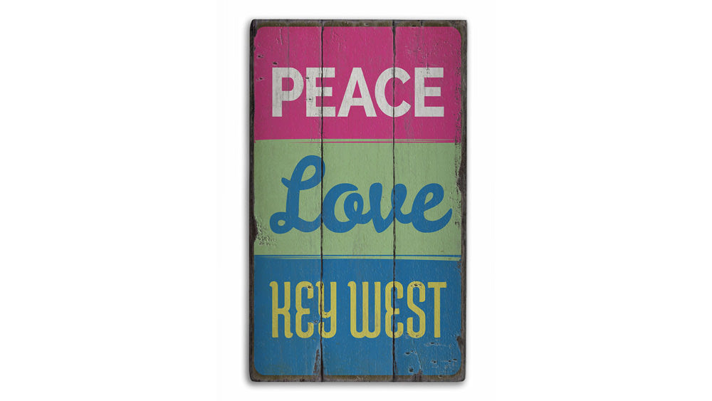 Peace Love Key West Rustic Wood Sign