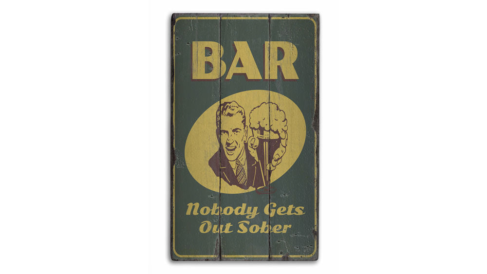 Retro Bar Rustic Wood Sign