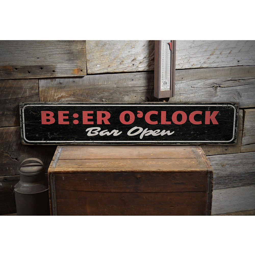 Beer O Clock Vintage Wood Sign