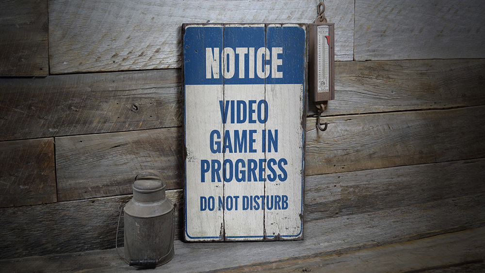 Do Not Disturb Video Game Rustic Wood Sign