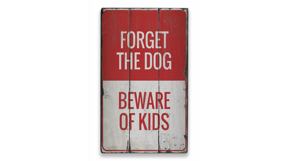 Beware of Kids Rustic Wood Sign