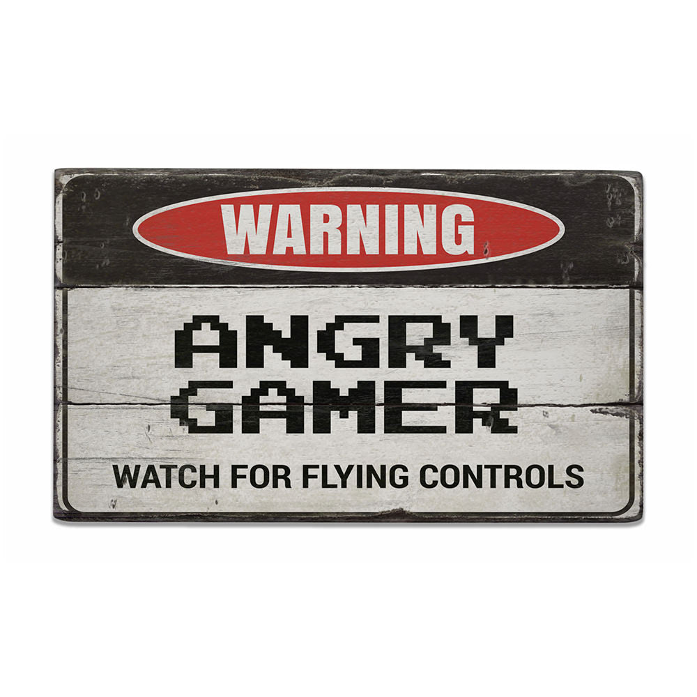 Angry Gamer Vintage Wood Sign
