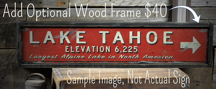 Lake Direction Rustic Wood Sign