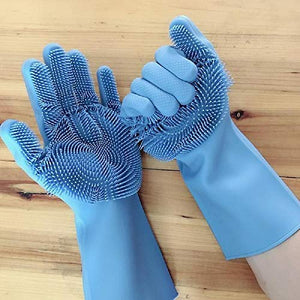 Reusable Pair of Non-Slip Scrubbing household silicone gloves ( Standard Size, Multicolored)