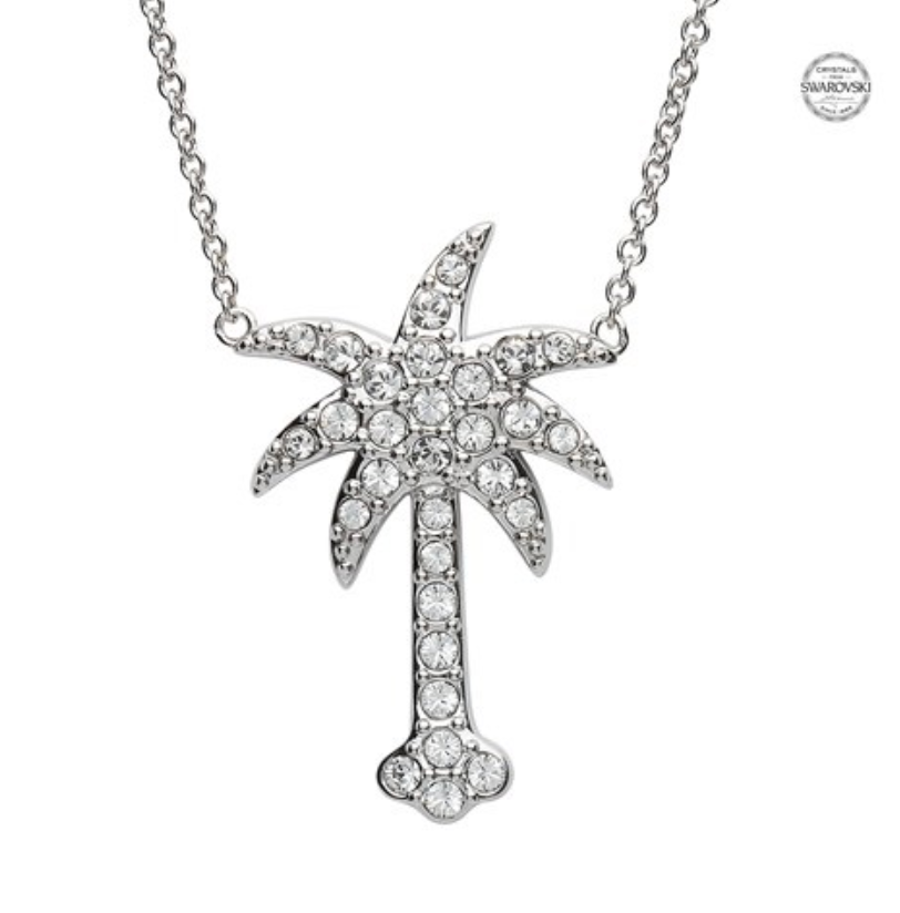 ShanOre SS White SW Crystal Palm Tree Necklace