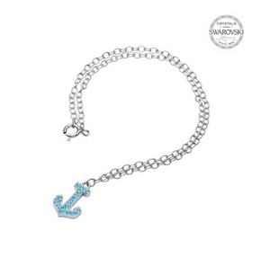 ShanOre SS Anchor with Aqua Crystals Ankle Bracelet