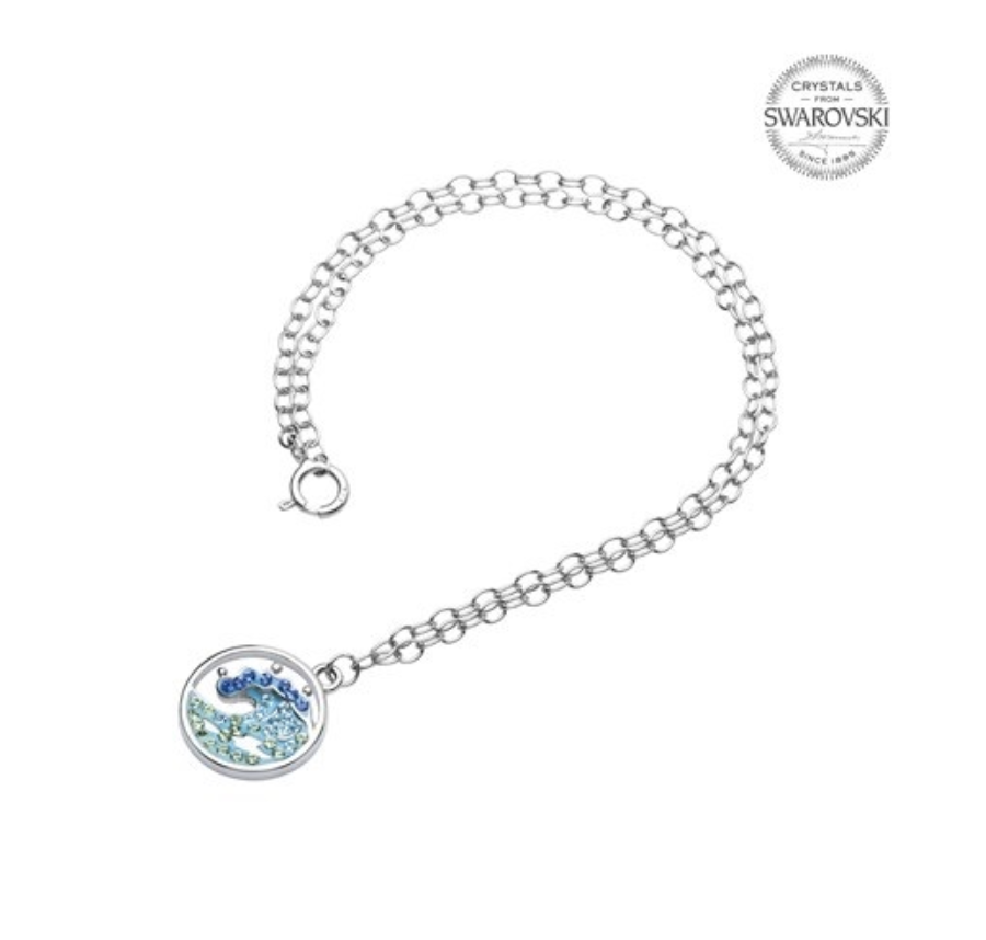 ShanOre SS Wave with Blue/White Crystals Ankle Bracelet