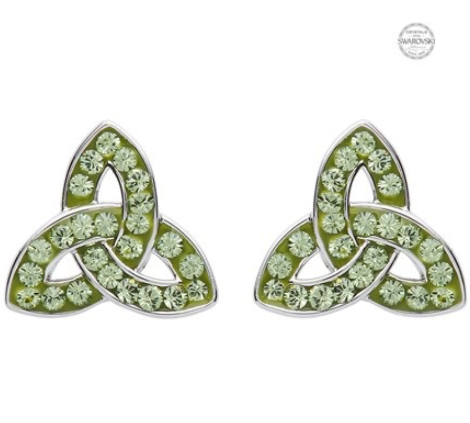 ShanOre Platinum Plate Peridot Trinity Earrings Swarovski