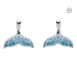 ShanOre SS Aqua SW Crystal Whale Tail Stud Earrings