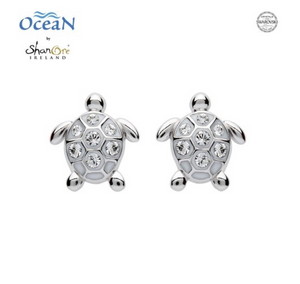 ShanOre SS Stud Turtle Crystal Earrings