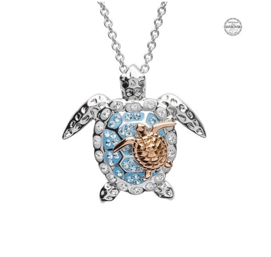 ShanOre SS Aqua SW Crystal Turtle and Baby Necklace Rose plate