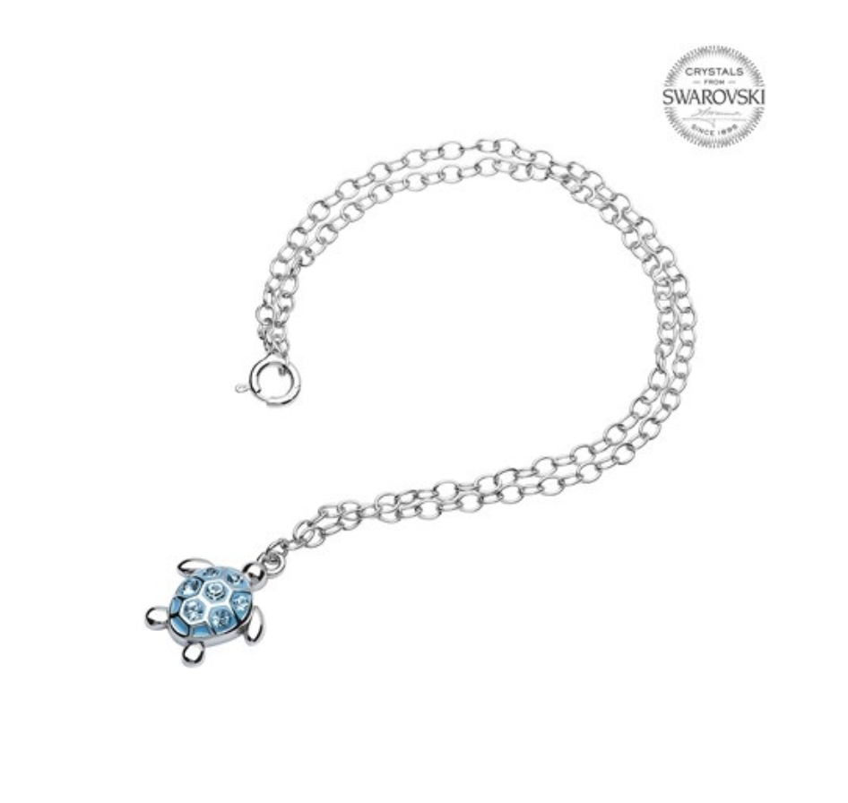 ShanOre SS Turtle with Aqua Crystals Ankle Bracelet