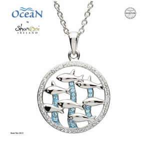 ShanOre SS Dolphin Necklace with Aqua Swarovski Crystals