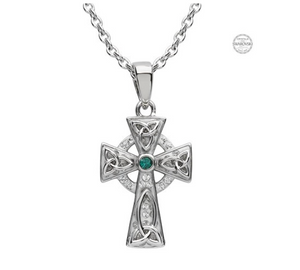 ShanOre Platinum Plated Green/White Cross Pendant Swarovski