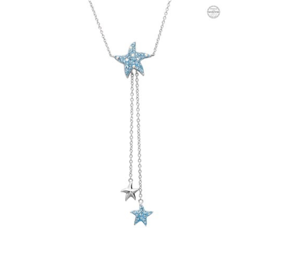 ShanOre SS Swarovski Aqua Star Fish Necklace