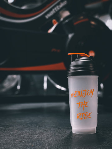 #EnjoyTheRide Black and Orange 700ml Protein Shaker Bottle