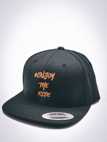 #EnjoyTheRide Black and Orange Classic Snapback Cap