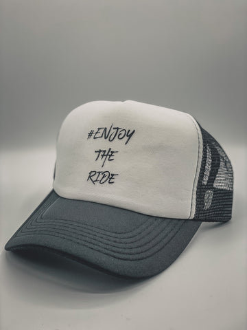 #EnjoyTheRide Retro Black and White Trucker Mesh Cap