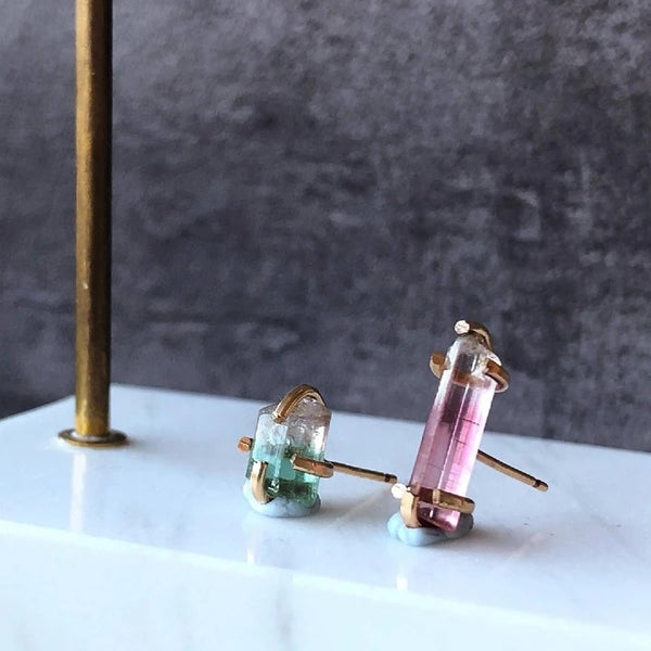 SpellThief N Co mismatched tourmaline earrings