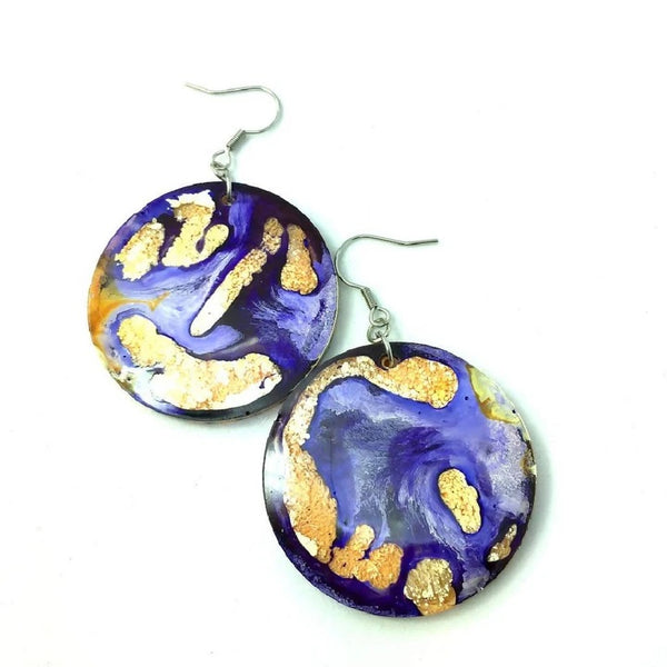 Blue and gold resin earrings