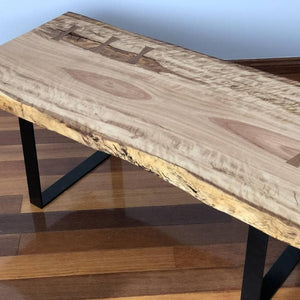 Wooden Live Edge Timber Table with Steel Legs and Blackbutt Timber