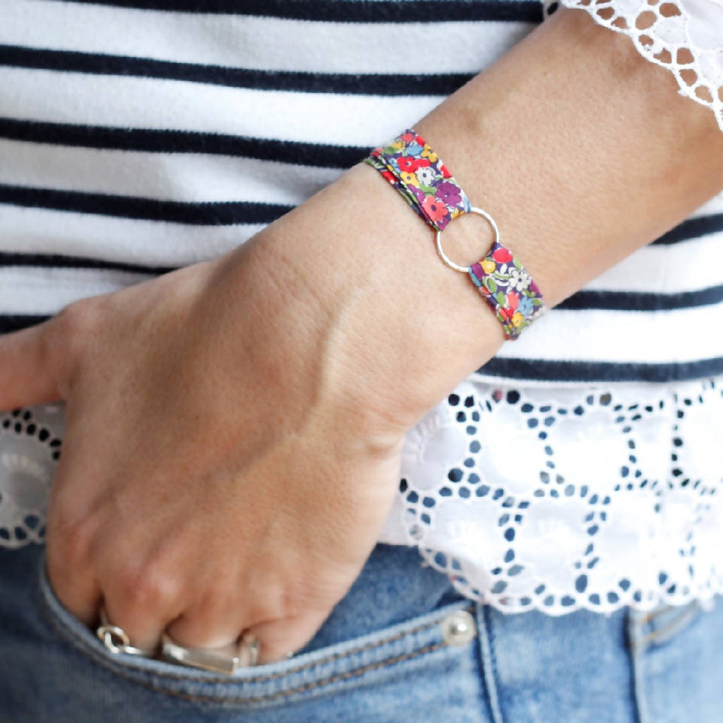 Make a Wish - Liberty Fabric Bracelet and Sterling Silver Circle
