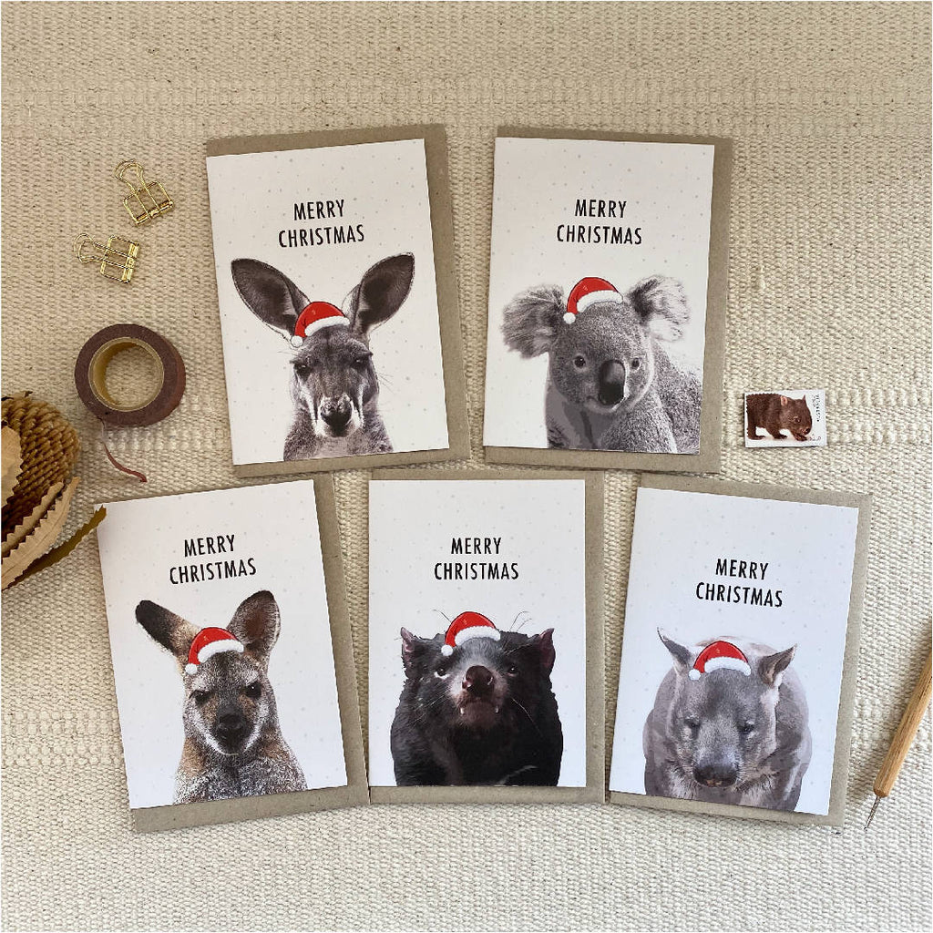 Australian Native Mammal Animal Christmas Cards