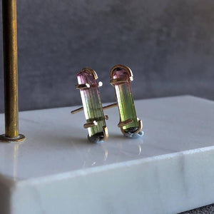 Natural tourmaline crystals earrings