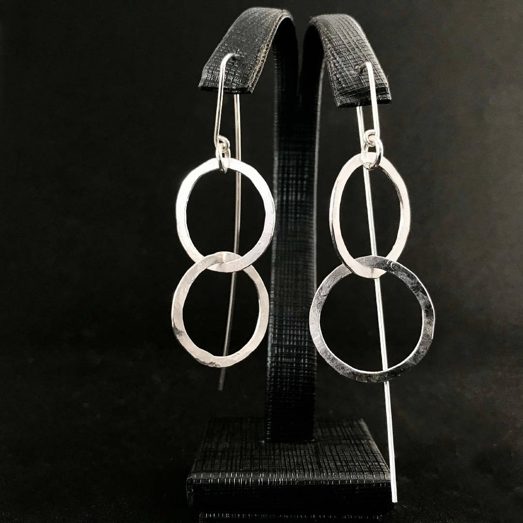 Double Rectangle Hammered Earrings