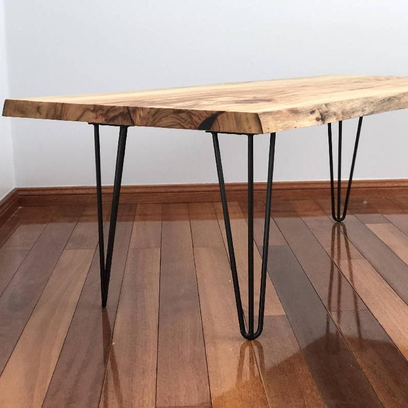 Handmade Live Edge Wooden and Steel Coffee Table