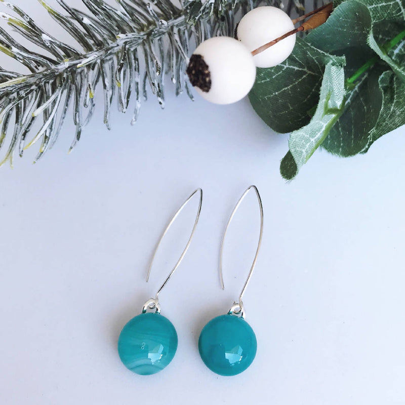 Teal Streaky Fused Glass Drop Earrings