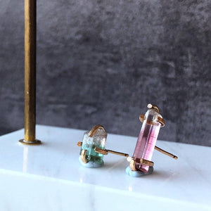 Mismatched tourmaline crystal earrings