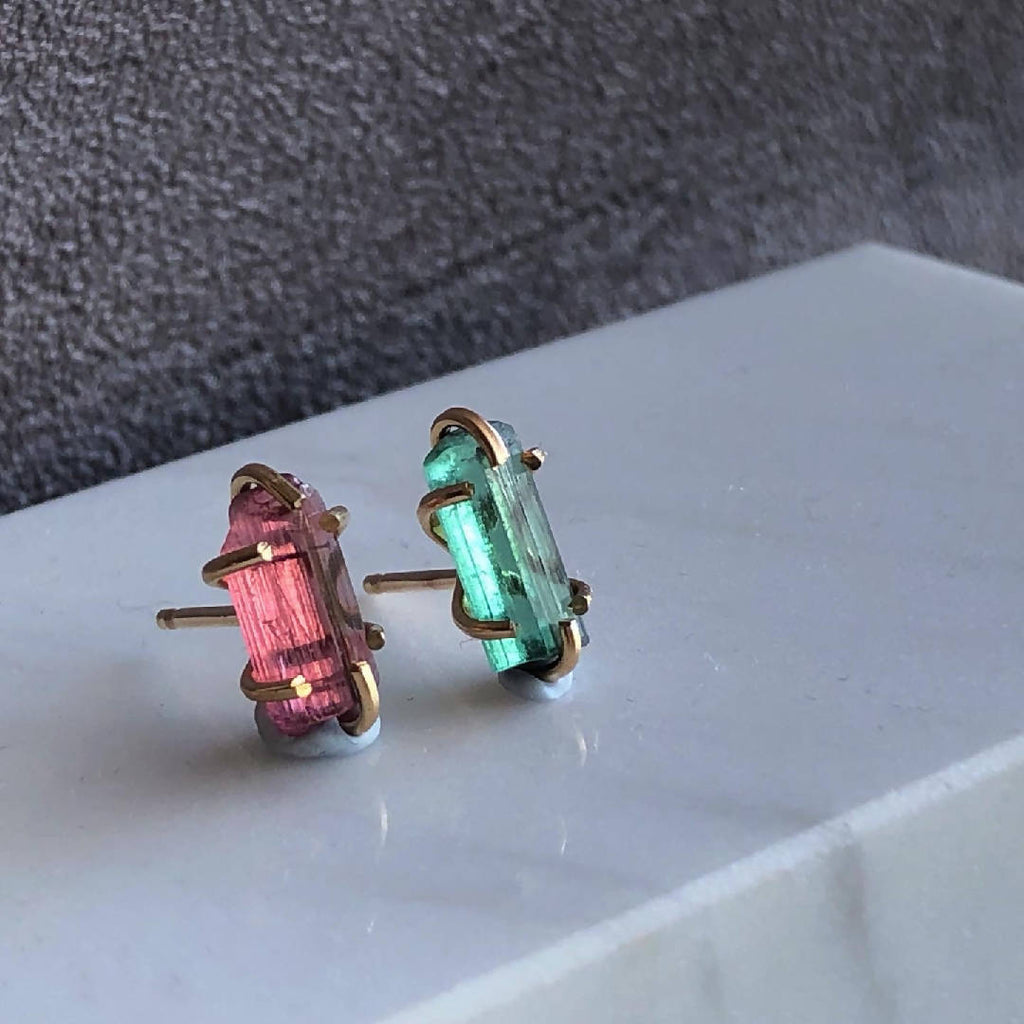 Mismatched tourmaline crystal gold filled earrings