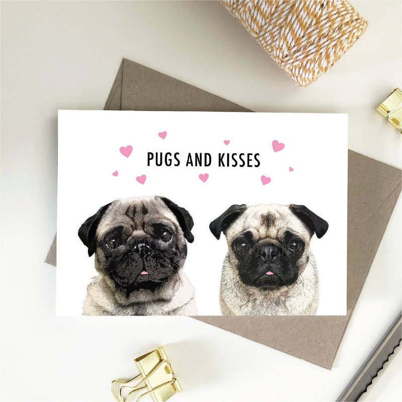 Pugs And Kisses Card, Love Card