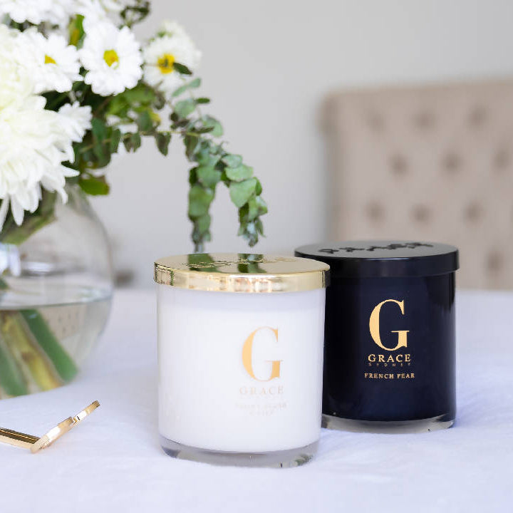 White & Gold Glassware Candle - Multiple fragrances available