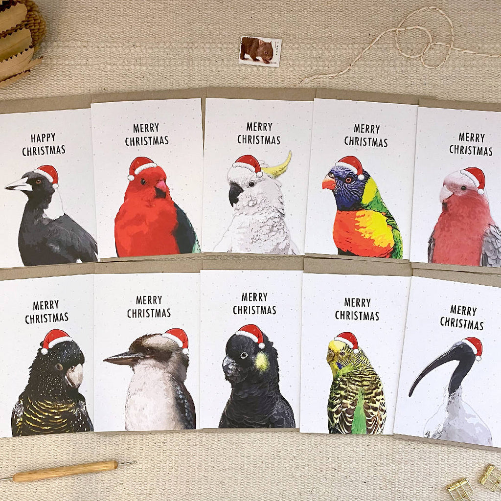 Australian Bird Pack of 10 Mixed Christmas Cards Plus Bonus 6 Christmas Gift Tags, Eco Friendly Recycled Paper Christmas Cards