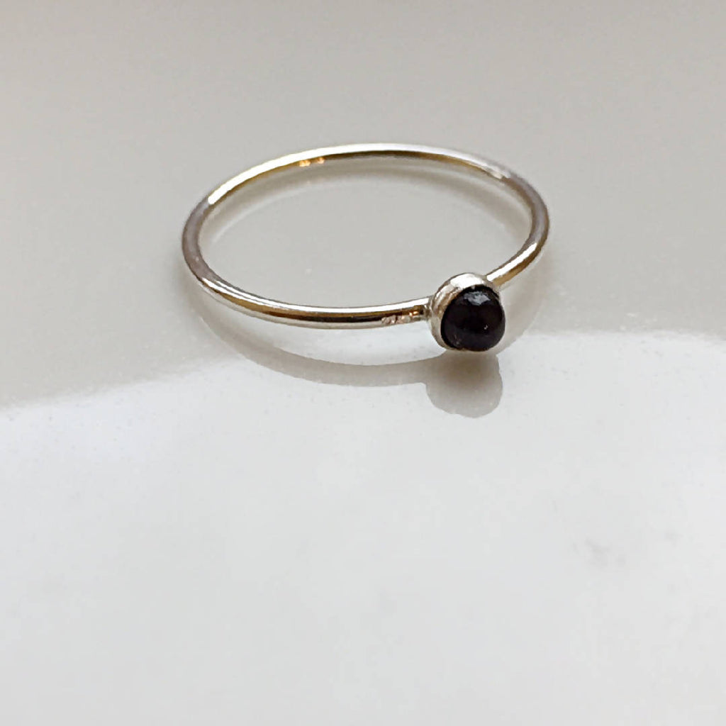 Blanche - Sterling Silver Ring with Black Onyx Stone 8pm Jewellery Handmade