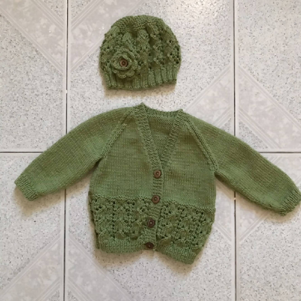 Cardigan and Beanie (With Crochet Flower) SET 6-18 Months 100% WOOL