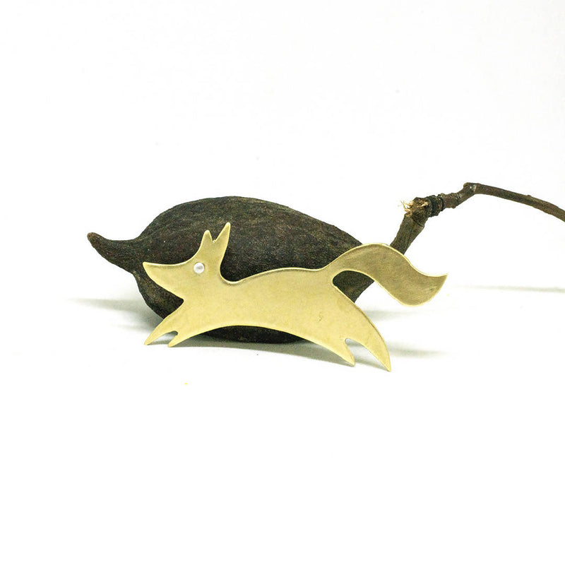 Mixed metal fox brooch